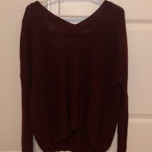 forever 21 soft maroon oversized backless sweater